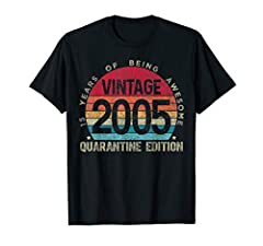 This Vintage 15th Birthday Shirt is a great 2020 Quarantine Birthday Gift for Boys Girls who just turned 15 in Quarantine. Wear this on Social Distancing Birthday to show that you're awesome since 2005 from 6 feet away.Teenager 15th Birthday Girl Boy...
