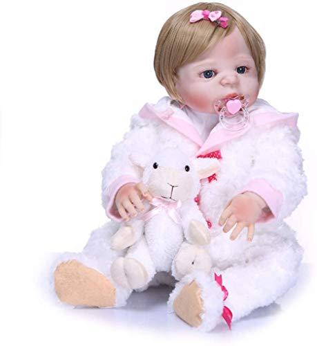 ZXYMUU 23 Pulgadas 56 cm muñecas del bebé Real Vida Que renace Mirada verdadera del Pelo Hecho a Mano de Silicona de Vinilo Cuerpo Completo White Girl ovejas Corto de Color marrón