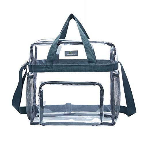 MAY TREE Clear Bag Stadium Approved, Transparent Tote Bag and See Through Tote Bag for Work, Sports Games and Concerts-12 x12 x6 (Gray)