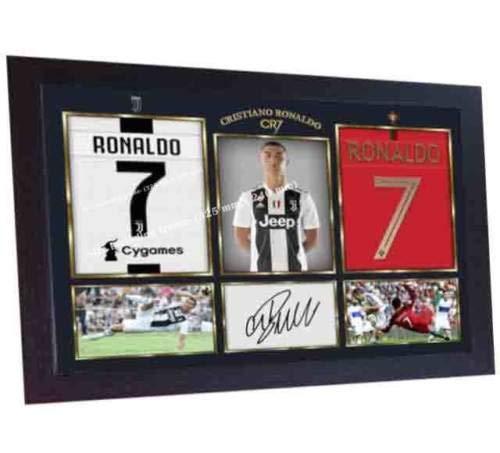 SGH SERVICES Fotodruck/Poster, gerahmt, Cristiano Ronaldo Juventus, mit Autogramm, vorgedruckter Foto-Druck, Fußball, unvergesslich, gerahmt, MDF-Rahmen