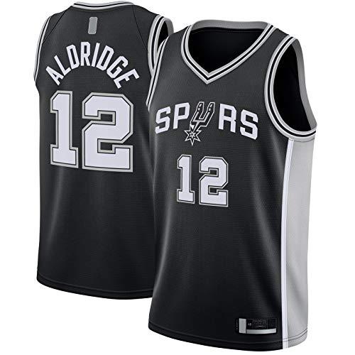 QSWW LaMarcus Camiseta De Baloncesto Aldridge Bordado San Sportswear Antonio Custom Spurs #12 Swingman Jersey Negro - Icono Edition-L