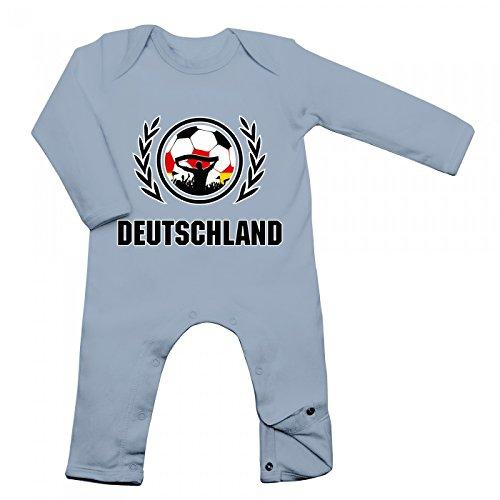 Shirt Happenz Deutschland Weltmeisterschaft 2018#2 Babybody Fan Trikot Fußball WM Nationalmannschaft Langarm Langärmliger Strampler, Farbe:Babyblau (Dusty Blue BZ13);Größe:12-18 Monate