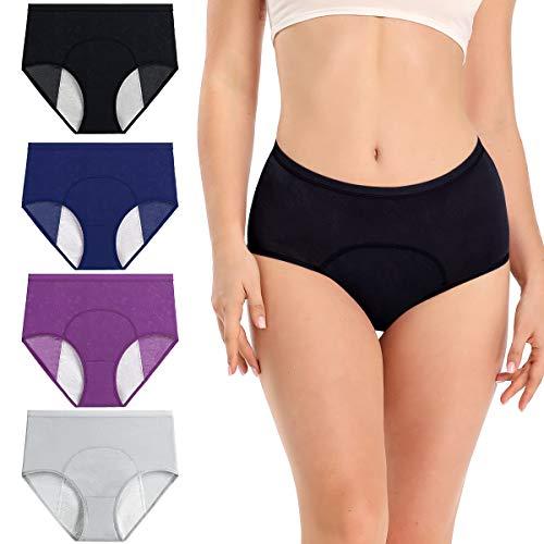 wirarpa Perioden Unterwäsche Auslaufsichere Menstruation Unterhosen Damen 4er Pack Mehrfarbig Größe XXL