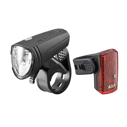 AXA LED-Akku Beleuchtung \'Green Line 15\', mit LED-Rücklicht und USB Kabel, schwarz (1 Set)
