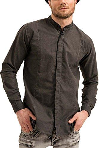 trueprodigy Casuale Uomo Camicia Uni Semplice, Abbigliamento Urban Moda Collo Coreana (Manica Lunga & Slim Fit Classic), Shirt Moda Vestiti Colore: Nero 2073102-2999-S