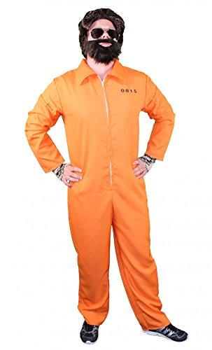 Foxxeo orangener Gefangemer Kostüm für Erwachsene zu Karneval und Fasching - gefangener Gangster Boss Jumpsuit orange Overall Junggesellenabschied Herren Anzug- Gr. L (Etikettgröße: XL), Variante A