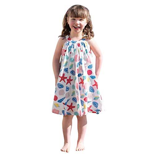 Robe de Bébé Filles,BUKINIE Mignon Robe de Fille Robe sans Manches Fleur Princesse Robe de Plage trapèze pour 2-8T Enfants (Blanc,6-7 Ans)