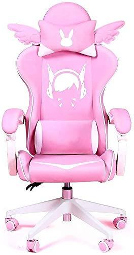 WJMLS Silla de la computadora de la Moda Chicas en Vivo reclinado Inicio Silla del Jefe de Oficina (Color : C)