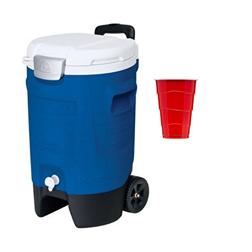 1 Pack Igloo 5-Gallon Beverage Roller w/free 500 ml Party Cups, 100...