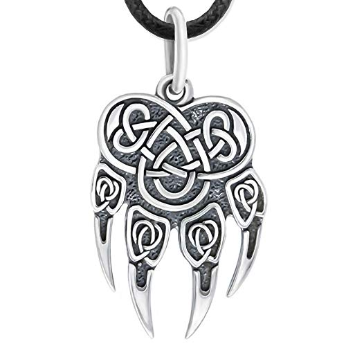 Viking Wolf Paw Claw Print Pendant Necklace/ 925 Sterling Silver/Fenrir Amulet with Celtic Knot Bear Charm Mens Nordic Norse Mythology Jewelry Gift for Men Women/Handmade