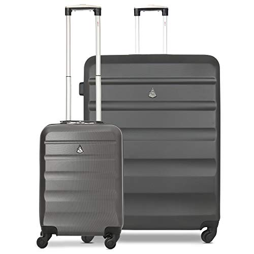 Aerolite Lightweight Hard Shell 4 Wheel Travel 21in 55cm Hand Cabin Plus 29in Large Hold Checked Check in 2 Piece Luggage Suitcase Set Charcoal