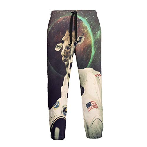 Inaayayi Pantalones deportivos unisex con diseño de jirafa de astronauta vintage y estampado en 3D con...