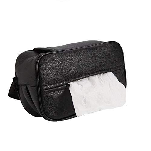 popchilli 20x11x8cm Zakdoek Doos Papier Handdoek Dispenser - Auto Tissue Doos Gesp Opknoping Faux Leer Papier Handdoek Doos Doos Zwart voor Auto Thuis Kantoor Woonkamer