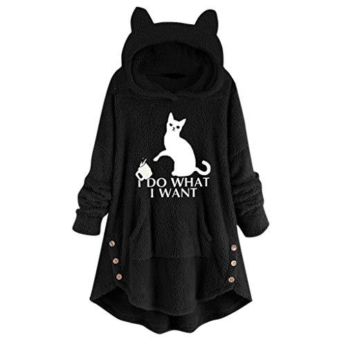 Hoodies FüR Frauen - Frauen Oversize Kapuzen Pullover Damen Faux Fleece Stickerei Katze Ohren Knopf Saum Hoodie Top Outerwear(Schwarz,M)