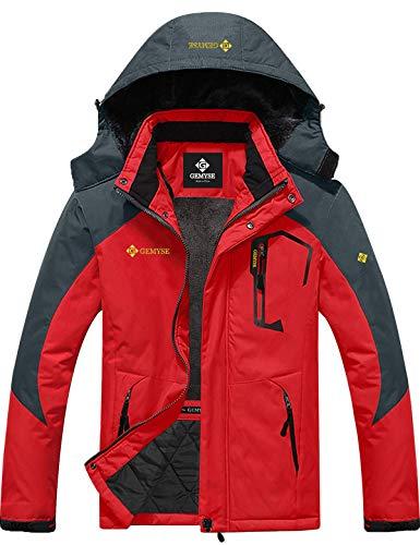 GEMYSE Men's Mountain Waterproof Ski Snow Jacket Winter Windproof Rain Jacket (Oriental Red,M)