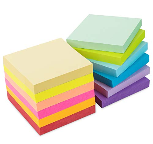 12 Stück Haftnotizen 76x76mm Super Sticky Notes selbstklebende Haftnotizzettel Sticky Notes Klebezettel bunt zettel farbig Notizblöcke für Büro Haus, 1200 Blatt insgesamt, 12 Farben