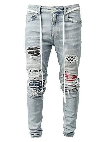 YUIJ Pantalones Vaqueros Rotos Vintage para Hombres, Pantalones De Mezclilla del Ciclista Flaco, Cheques Patchwork Jean Pantalones,Light Blue,S