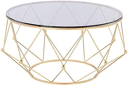 WSHFHDLC Mesa de centro moderna sala de estar mesa de centro negro mesa de cóctel pequeña mesa auxiliar con mesa de vidrio templado mesa de metal mesa pequeñas mesas de café