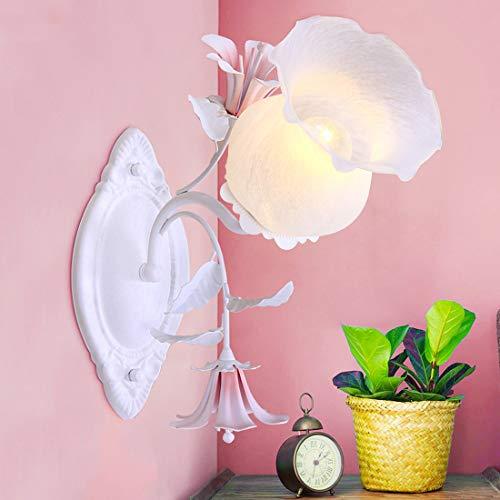 GDLight Romantische Pastoral Wandleuchten Glass Shade Wandmontage Nachtlichter Eisen Floral Wandleuchte Beleuchtung für Schlafzimmer Wohnzimmer Flur Balkon
