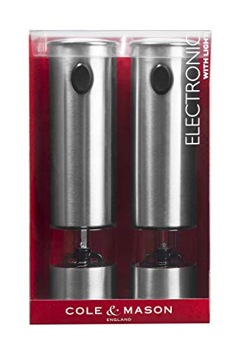 Cole & Mason Electronic Battersea Salt and Pepper Mill Gift Set, Stainless Steel/Metallic, 21 cm