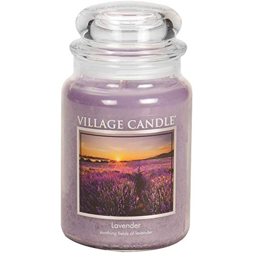 Village Candle Lavender Large Glass Apothecary Jar Scented Candle, 21.25 oz, Purple