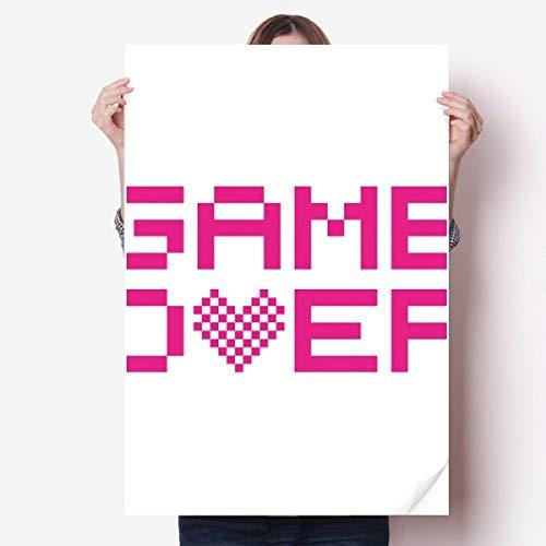 DIYthinker Pink Game Over Pixel Vinyl Muursticker Poster Fotobehang Kamer Decal 80X55Cm
