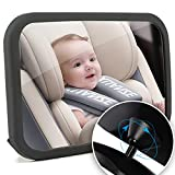 Funbliss Baby Car Mirror,Car Mirror Baby Rear Facing Seat, Shatter-Proof Acrylic Baby Mirror for Car, No Assembly Required, Safety and 360 Degree Adjustability Black
