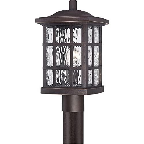 "Quoizel SNN9009PN Stonington Outdoor Post Lantern, 1-Light, 100 Watt, Palladian Bronze (17""H x 10""W)"