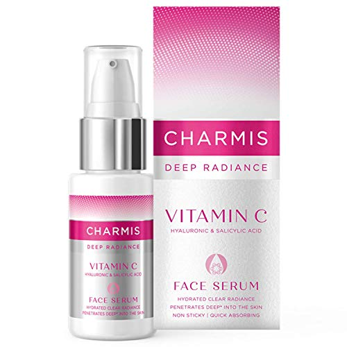 Charmis Deep Radiance Face Serum 30ml with Vitamin C, Hyaluronic Acid and Salicylic Acid for Hydrated Clear and Radiant Skin, Non Sticky, Quick Absorbing , Penetrates 15 Layers in Skin, Dermatologically Tested