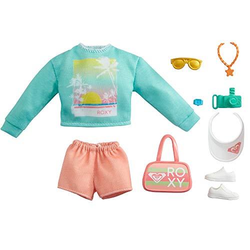 CDU Barbie Pack de Moda Licencia Roxy: Jersey y Shorts, Ropa de muñeca (Mattel GRD59)