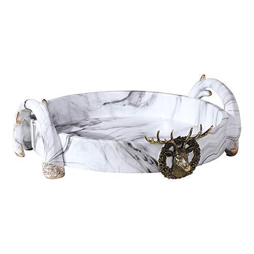 GJ Decoratieve dienblad, Sieraden marmeren dienblad, Voor Dressoir Vanity Gift voor Verjaardag Kerstmis - Wit