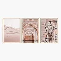 モロッコのドア砂漠のラクダピンクの風景壁アートキャンバス絵画北欧のポスターとプリント壁の写真リビングルームの装飾-(50X70cm)X3フレームなし