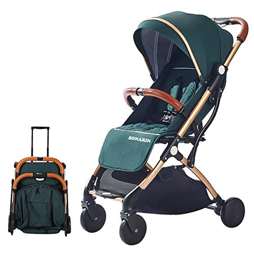 SONARIN Leicht Kinderwagen,kompakt Reise Buggy,einhändig faltbar,Fünf Punkt Gurt,ideal für Flugzeug(Grün)