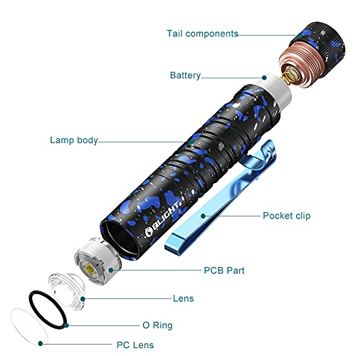 OLIGHT I5T EOS 300 Lumens Slim EDC Torch Powered by Single AA Battery, Tail Switch Flashlight, Dual-Output for Camping and Hiking, Stardust