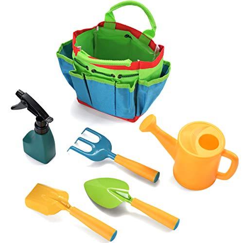 Xinapy Juego de 6 piezas de jardinería de plástico para niños con bolsa de juguetes de jardín para jardín, playa, arenero