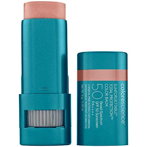Colorescience Sunforgettable Total Protection Color Balm SPF 50, Mineral, Broad Spectrum, Buildable Lip & Cheek Color, Blush, 1 ct.