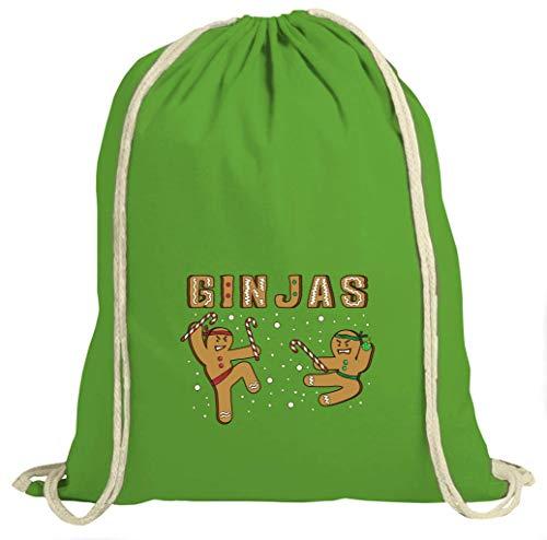 Shirt Happenz Gin Jas Weihnachten Christmas Nikolaus Silvester Neujahr Turnbeutel Unisex Gymbag, Größe:37cm x 46 cm, Farbe:Grün (Gymbeutel)