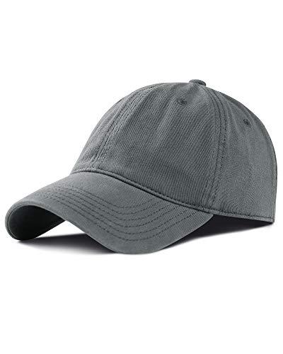 FURTALK Men and Women Vintage Washed Distressed Cotton Grey Baseball Cap Plain Blank Adjustable Classic Baseball Hat