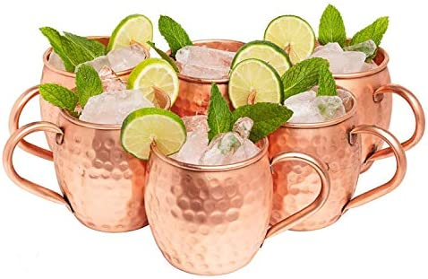 Kitchen Science Moscow Mule Copper Mugs 16 Ounce Set of 6 gift set 100 Artisan Handcrafted Food product image
