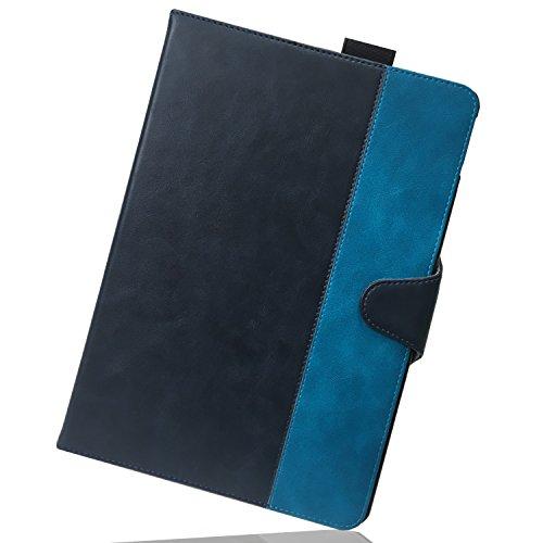 Nimaso iPad Pro 10.5 ケース 高品質 PUレザーケース マグネット開閉式 カード収納 / タッチペンホルダー / 伸縮性ハンドストラップ付 スタンド機能付き(iPad Pro 10.5, 紺色+ブルー)