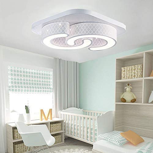 Froadp 72W C-Förmige LED Deckenleuchte IP44 Energiesparlampe Kreative Eisen und Acryl Kinderzimmer Licht 42x 42x10cm für Flur Wohnzimmer Schlafzimmer Küche(2C Lampe - Kaltweiß)