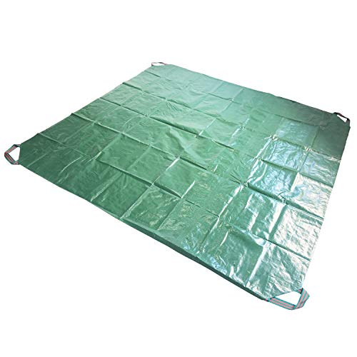 2 Pack 7x7 Ft Yard Garden Tarp Waterproof Multi-Purpose with 4 Handles for Outdoor Camping Mats, Waste Clean up, Best Leaf Tarp, Dust-proof Cover, Stuff Covering Tarp for Motorcycle, Bikes, Furnitures