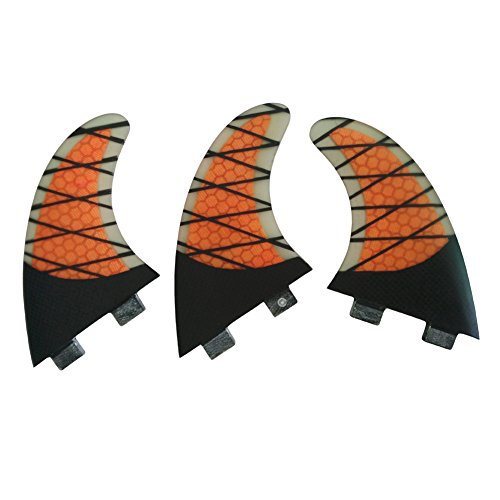 UPSURF Tabla de Surf Tri FCS Aletas G5 Fibra de Vidrio Carbón+Panal Thruster Set Tabla de Surf Aletas (FCS Orange G5)