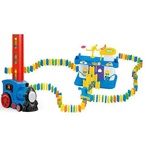 Domino Tren Eléctrico de Tren de los Niños Juguete Automático de Construcción y Apilamiento de Juguete de Coche Modelo de Vehículo de Juguete