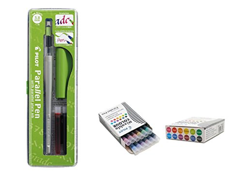 Pilot Parallel Pen Stylo de calligraphie rechargeable 3, mm + 12 cartouches de rechange assorties