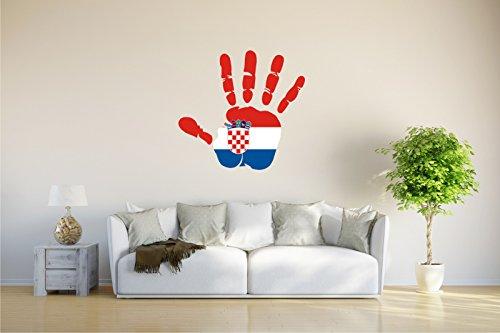 Wandtattoo - CH - Fahne in der Hand - Croatia - Kroatien - 61x58 cm