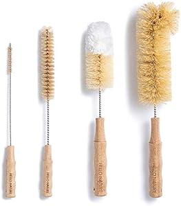 4Pcs Long Handle Bottle Cleaning Brush Set by HELLO NATURE, Sustainable & Biodegradable Natural Fibre Bamboo Handle Brushes Zero-Waste & Plastic Free