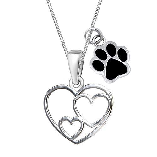 Herz Pfötchen Anhänger mit Halskette 925 Echt Sterling Silber Kette für Mädchen Kinder (A/Pfote Schwarz, 40)
