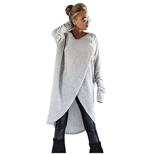 Pull Femme,LianMengMVP Femmes Sweat-Shirt Ample à Tricoter irrégulier Pull Long Tops Chemisier