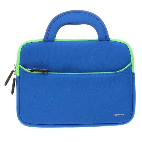 Evecase Tablet Schutzhülle Universal 10,1 Zoll Neopren Tablet Case mit Vorderseitigem Zubehörfach für Tablets - Blau/Lindgrün L
